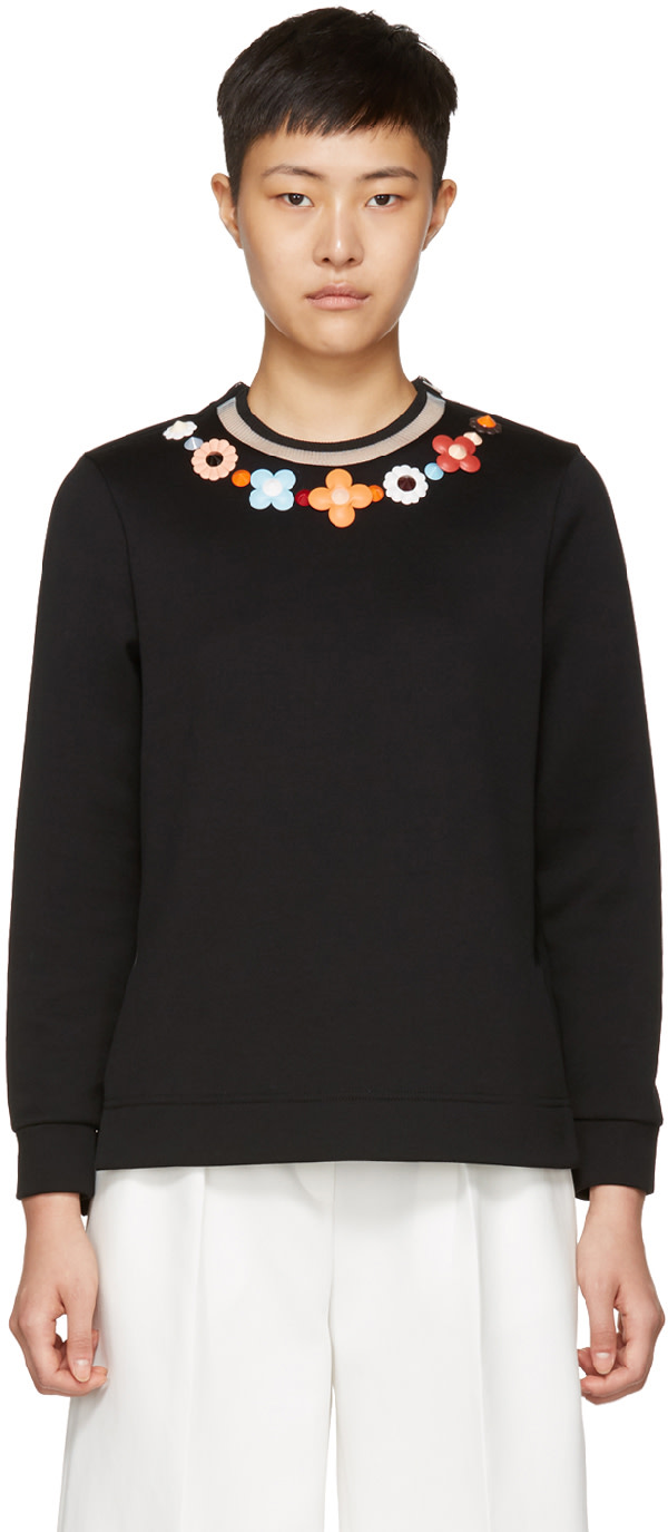 Fendi Floral Embroidered Sweater In Gme Black
