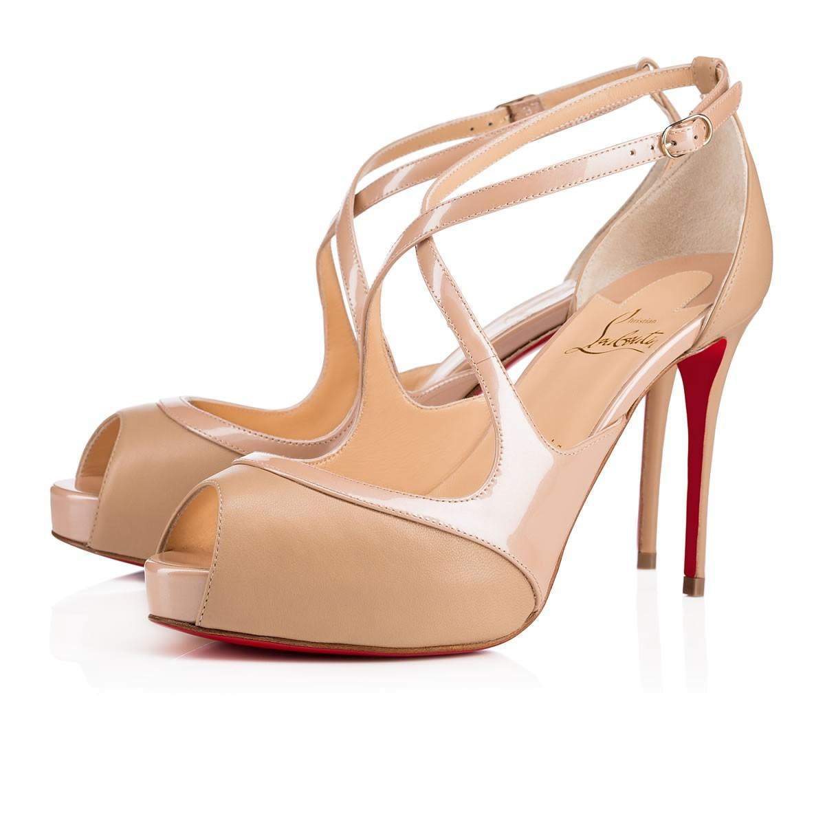 0d26dd66910 Christian Louboutin Catchy Two 120 Patent Leather Peep Toe Pumps In Nude  1 Nude