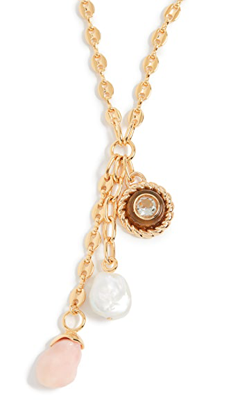Lizzie Fortunato 18k Goldplated Anchor Lariat Necklace In Multi