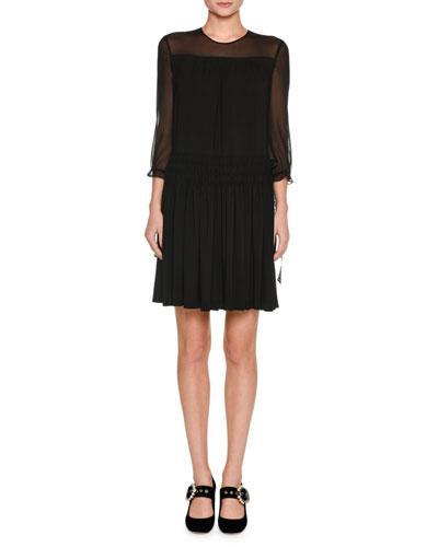 Miu Miu 3/4-Sleeve Sable Dress, Black