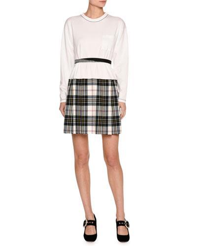 Miu Miu Long-Sleeve Jersey & Plaid Combo Dress, White