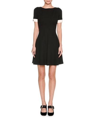 Miu Miu Crepe-Trimmed Stretch-Twill Mini Dress In Black