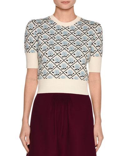 Miu Miu Short-Sleeve Floral Jacquard Sweater, White In Avorio
