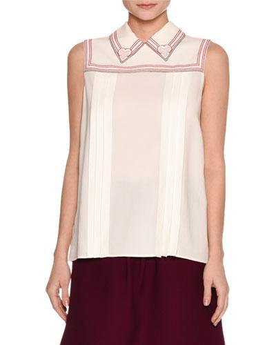 Miu Miu Sleeveless Cross-Stitch Blouse, White