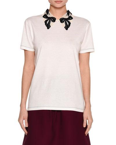 Miu Miu Jersey Tee W/Macrame Bow Collar, White/Black