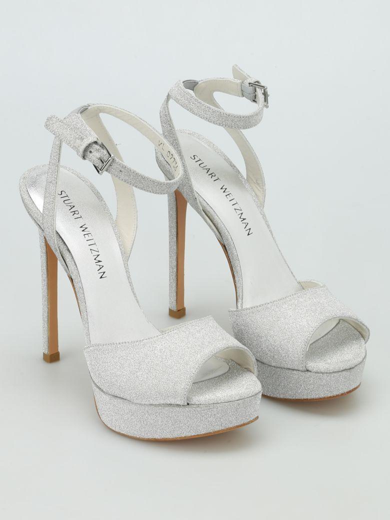 Stuart Weitzman Swagger Glitter Platform Sandals In Silver