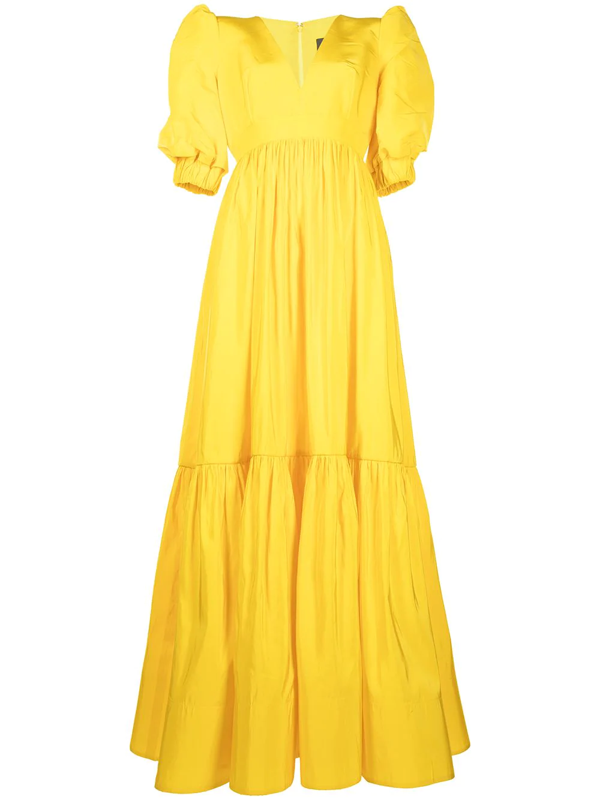 Greta Constantine Keele Short Sleeve A-line Gown In Yellow