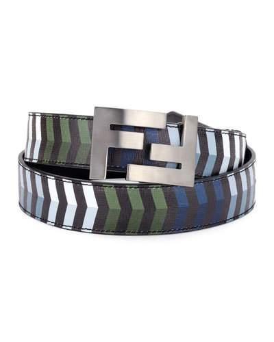 Fendi Double-F Buckle Striped Leather Belt In Multi