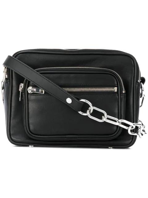 Alexander Wang Attica Chain-Trimmed Leather Shoulder Bag In Black