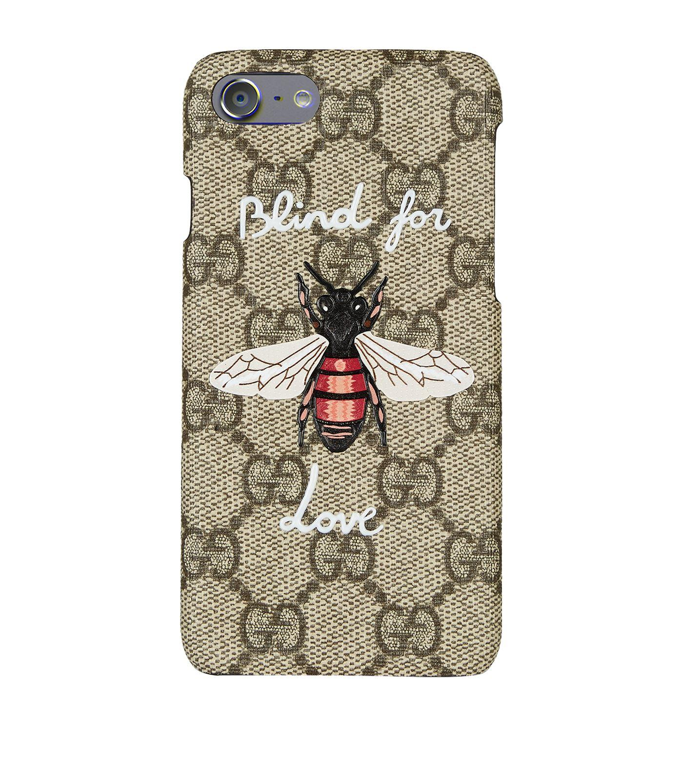 Gucci Bee Print Iphone 7 Case In Beige