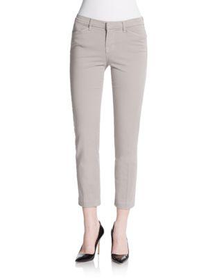 J Brand Kailee Slim Cropped Trousers In Limestone