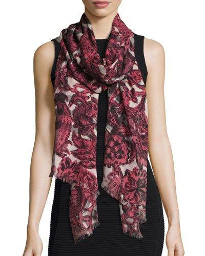 Burberry Floral Beasts Giant Check Scarf, Pink