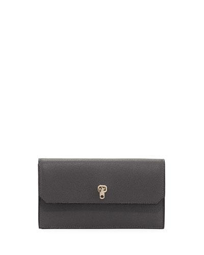 Valextra Medium Textured Leather Wallet, Gray