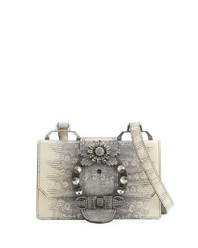 Miu Miu Lady Jeweled Leather Shoulder Bag, Animal Print