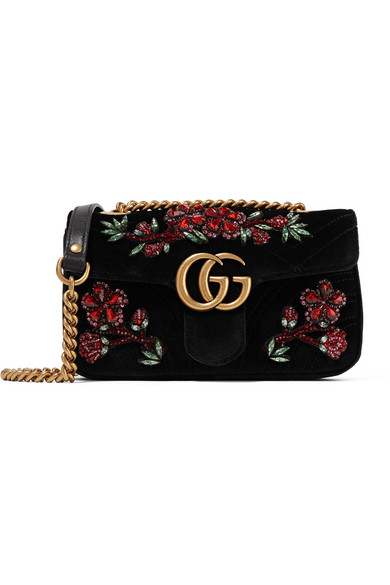 5949beee28e266 Gucci Gg Marmont Small Crystal-Embellished Velvet Shoulder Bag In Black