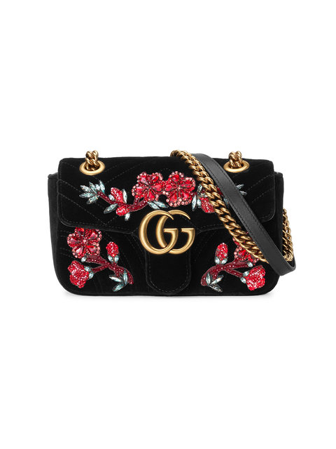 Gucci Gg Marmont Small Crystal-Embellished Velvet Shoulder Bag In Black