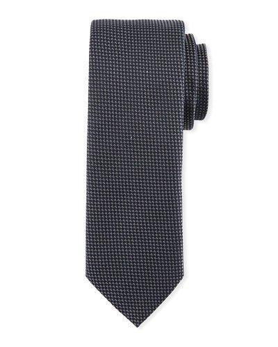 Boss Textured Silk Tie, Silver