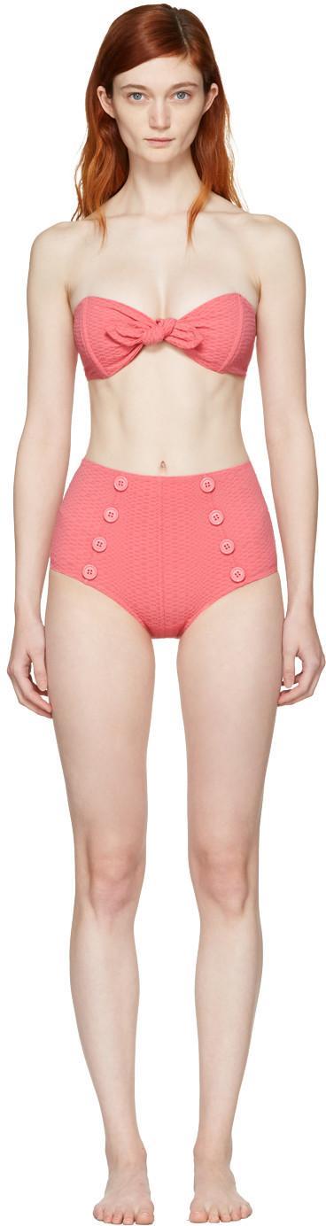 Lisa Marie Fernandez Poppy High-Rise Bikini In Pink Seesucker