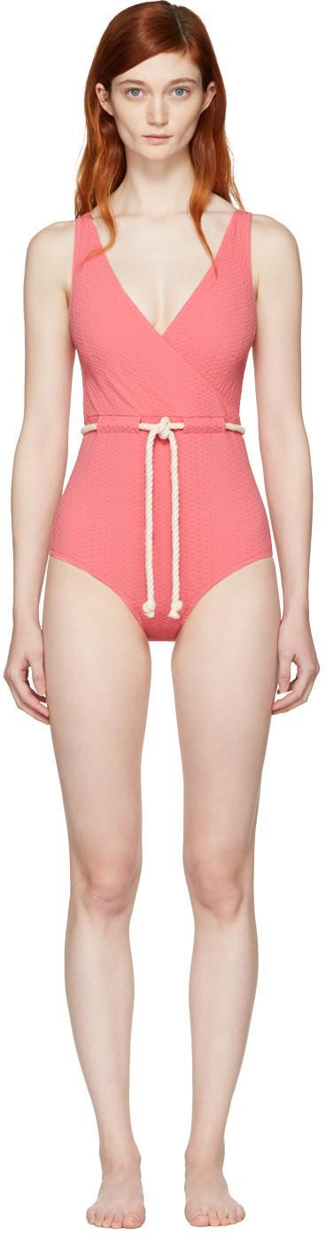 Lisa Marie Fernandez Yasmin Cotton-Blend One-Piece Swimsuit In Pink Terry