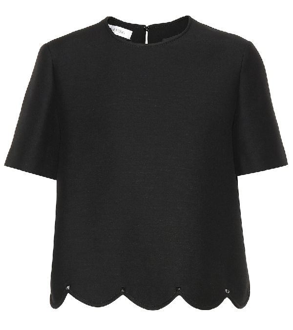 Valentino Wool And Silk Top In Black
