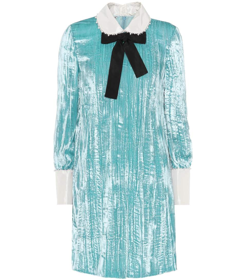 Miu Miu Embellished Crushed-Velvet Dress In Aeice