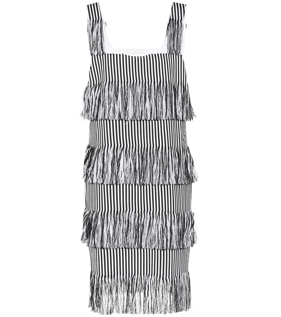 Prism Nevis Striped Fringe Trim Dress In Black