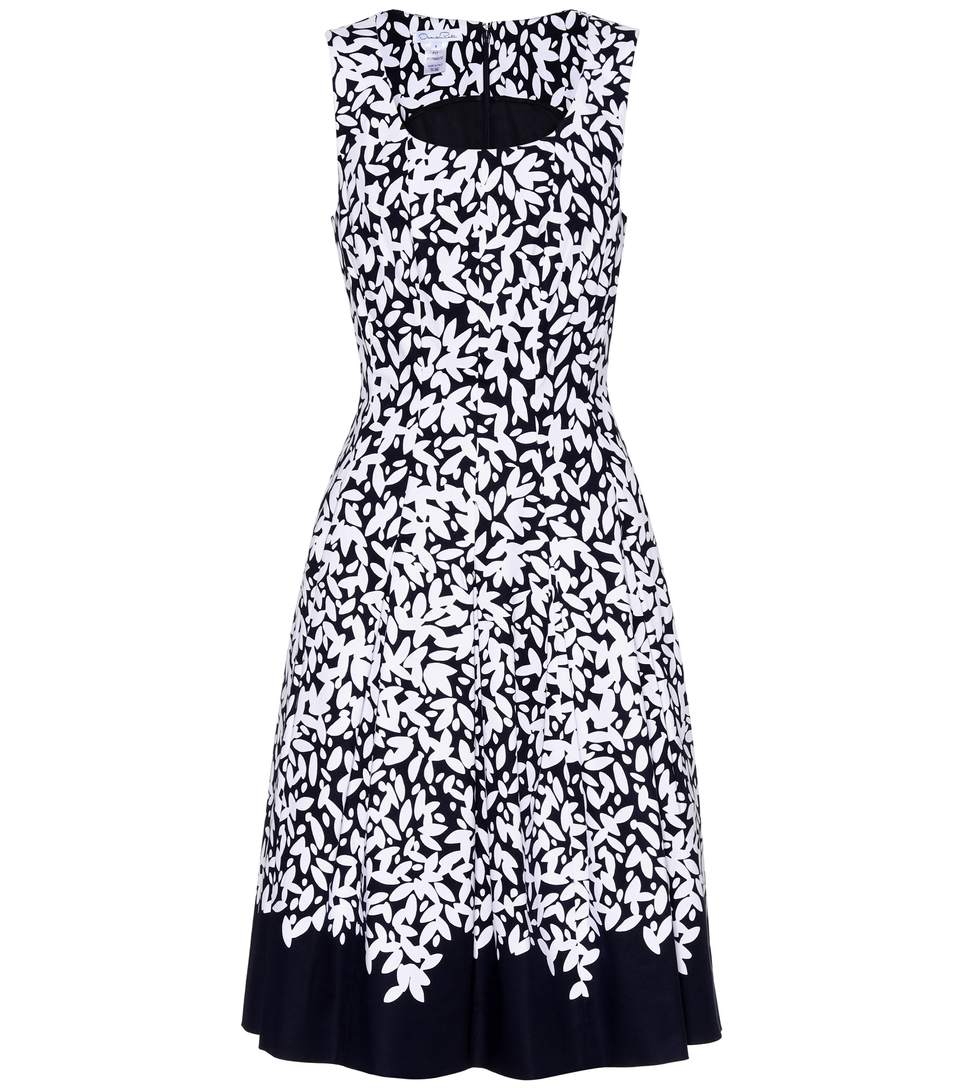 Oscar De La Renta Pleated Printed Stretch-Cotton Dress In Blue