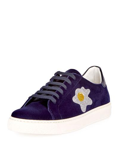 Anya Hindmarch 'Egg' Glitter Embossed Velvet Sneakers In Indigo