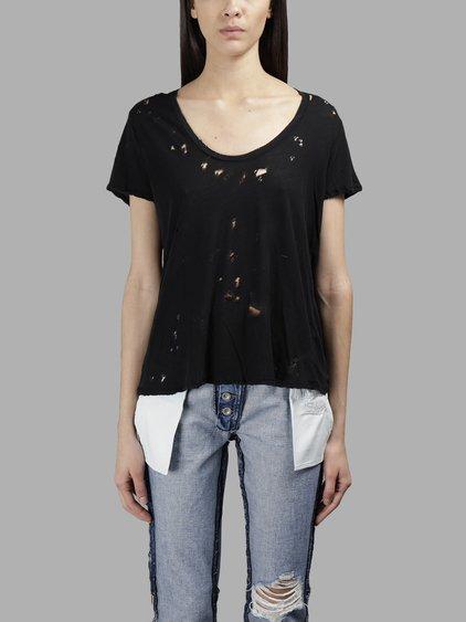 Ben Taverniti Unravel Project Ben Taverniti Women's Black Distress Jersey T-Shirt