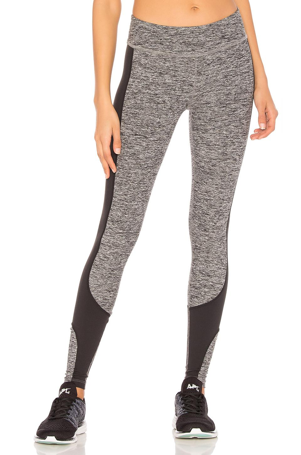 Beyond Yoga Above The Curve Space-Dye Leggings In Black & White