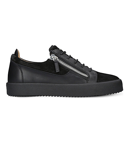 Giuseppe Zanotti Panelled Leather And Suedre Trainers In Black