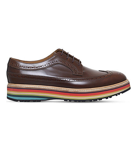 Paul Smith Grand Leather Derby Shoes In Tan
