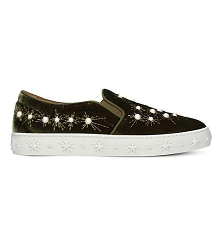 Aquazzura Cosmic Embellished Velvet Skate Shoes In Green