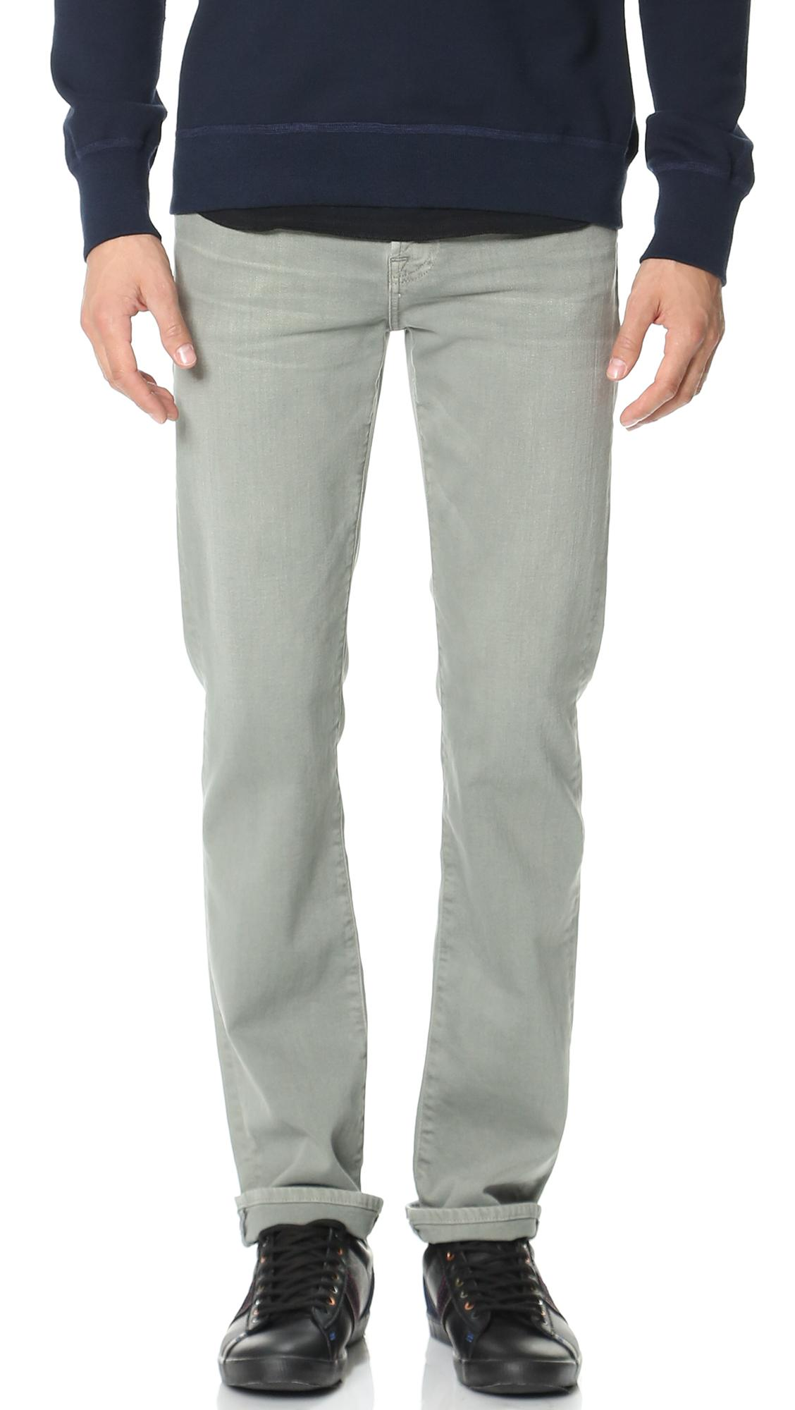7 For All Mankind Luxe Performance Slimmy Jeans In Stone Wash Grey
