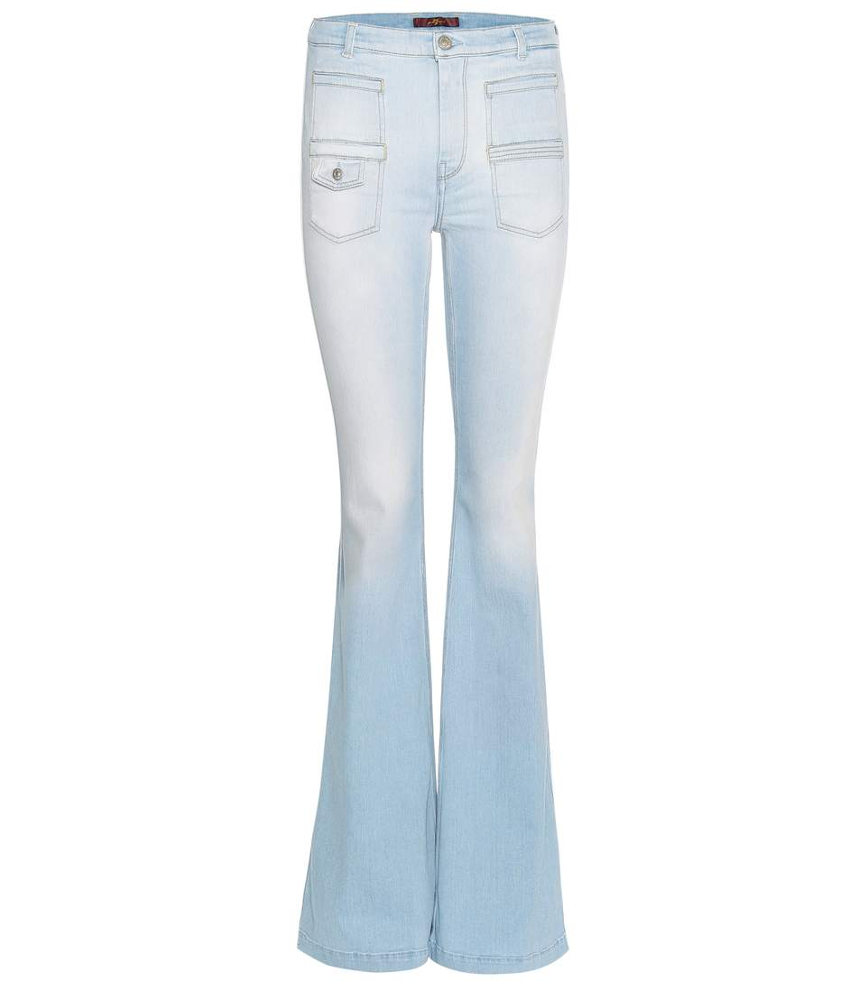 7 For All Mankind Georgia Flared Jeans In Daylight Llue