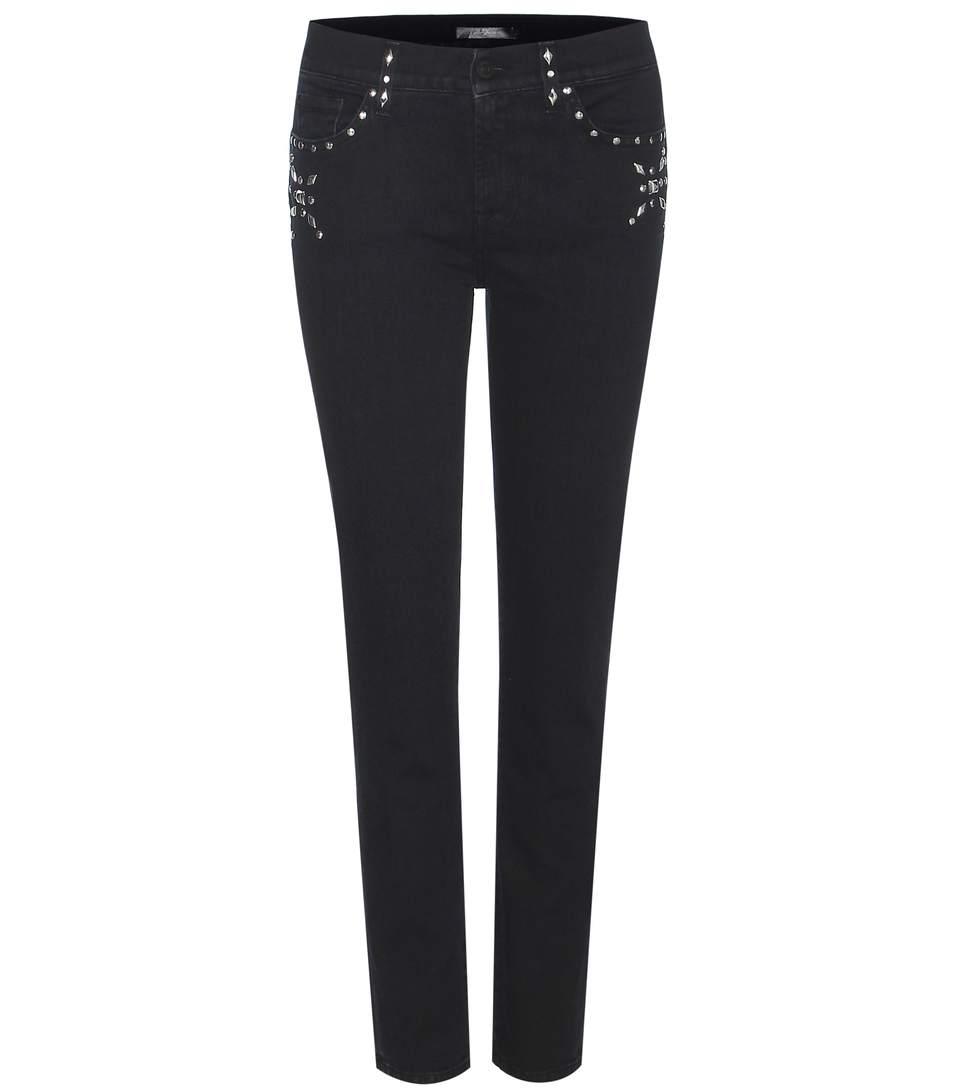 7 For All Mankind Roxanne Crop Embellished Jeans In Black