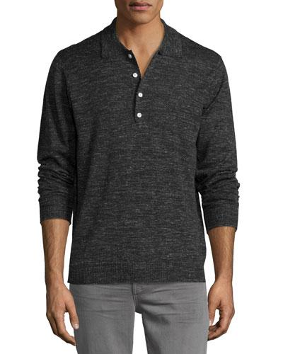 7 For All Mankind Long-Sleeve Polo Sweater, Dark Charcoal