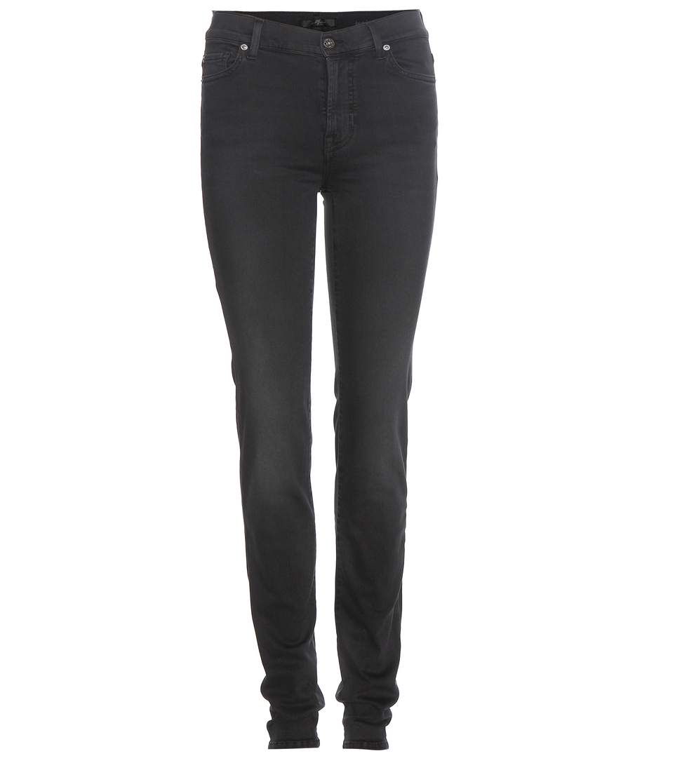 7 For All Mankind Rozie Slim High-Rise Jeans In Black