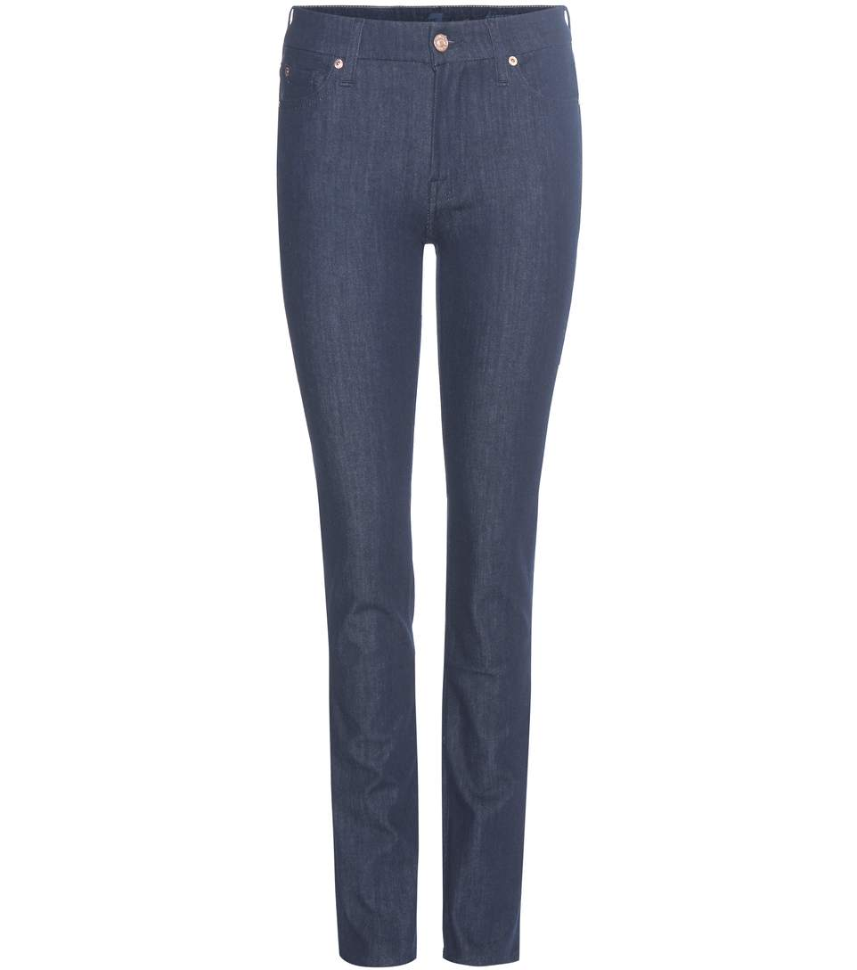 7 For All Mankind Kimmie Straight Mid-Rise Jeans In Blue