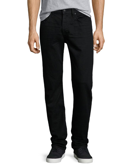 7 For All Mankind Foolproof Slim Straight-Leg Denim Jeans, Towne Black