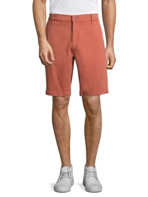 7 For All Mankind Cotton Blend Chino Shorts In Red Earth