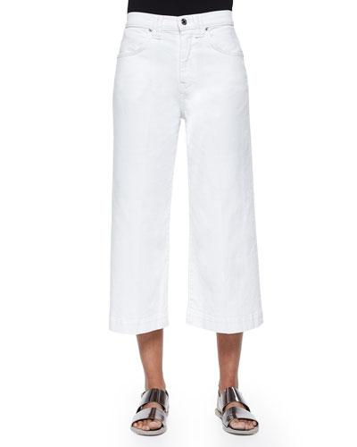 7 For All Mankind Runway Wide-Leg Denim Culottes, Runaway White