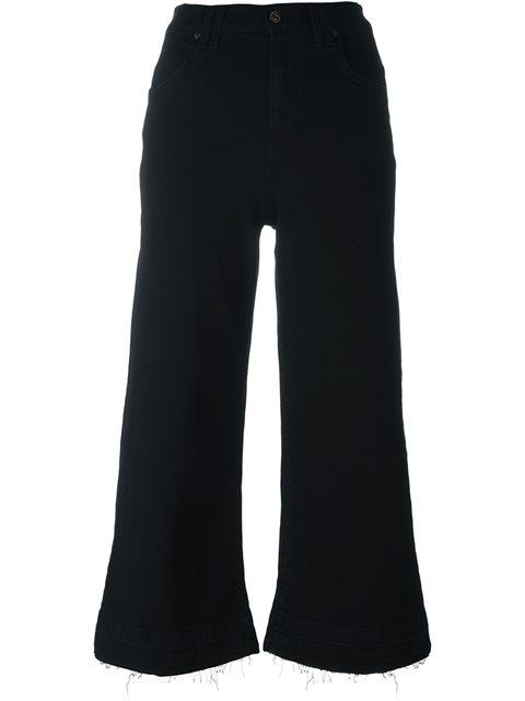7 For All Mankind Wide Leg Cropped Jeans - Black