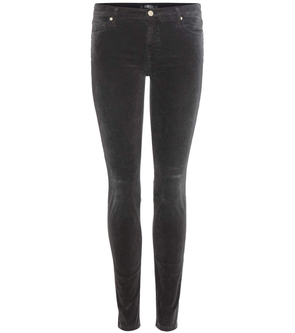 7 For All Mankind The Skinny Corduroy Trousers In Grey