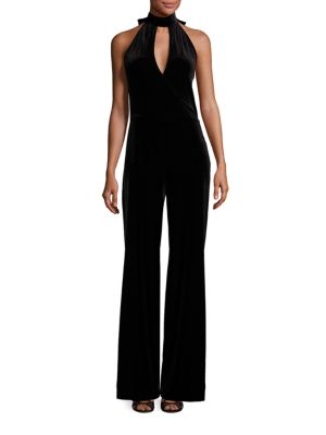 7 For All Mankind Velvet Halter Jumpsuit, Black