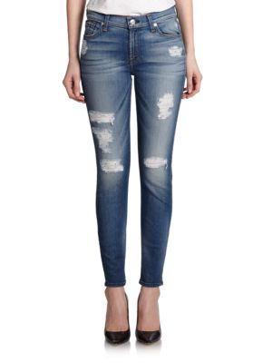 7 For All Mankind Ankle Skinny Distressed Jeans In Authentic Light