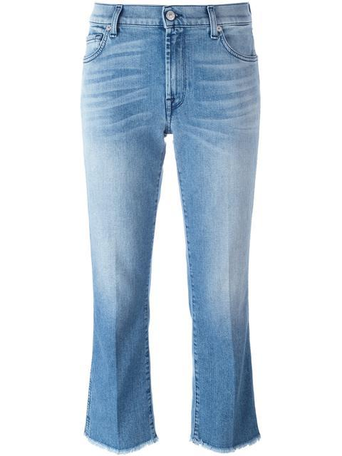 7 For All Mankind Raw Hem Cropped Jeans