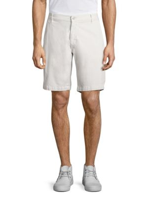 7 For All Mankind Cotton Blend Chino Shorts In Frost