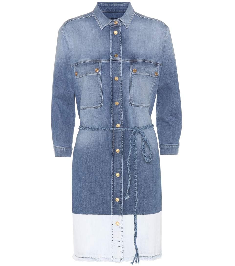 7 For All Mankind Denim Shirt Dress In Lrokee Twill Light