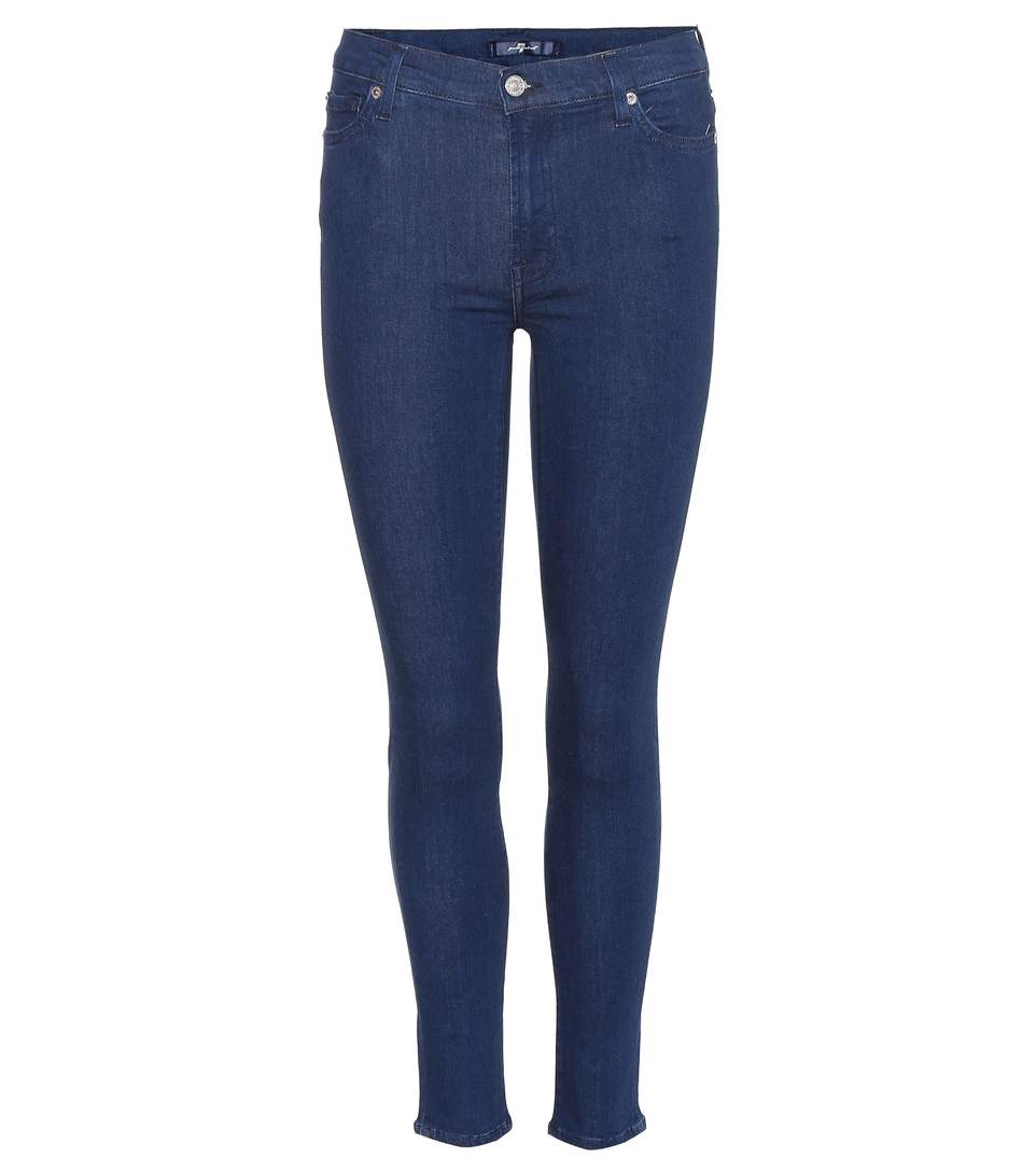 7 For All Mankind The High Waist Skinny Crop Jeans In Slim Illusioe Riesed Lright